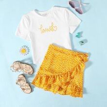 Girls Letter Graphic Top & Wrap Knotted Ditsy Floral Skirt Set