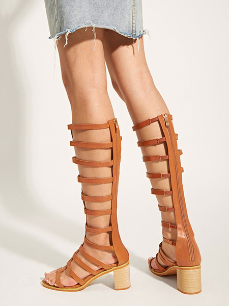 Milanoo Coffee Brown Gladiator Sandals PU Leather Peep Toe Mid Heel Side Sandals