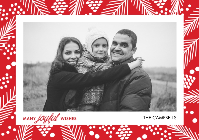 Christmas Photo Cards Flat Glossy Photo Paper Cards with Envelopes, 5x7, Card & Stationery -Festive Holly Frame