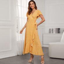 Gelb  Knoten  Bluemchen Laessig Kleider