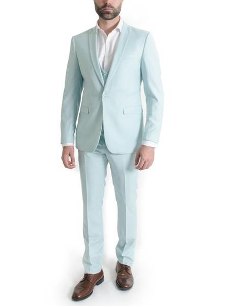 Men's 3 Piece Narrow Peak Lapel Mint Slim Fit Spring Vested Suit