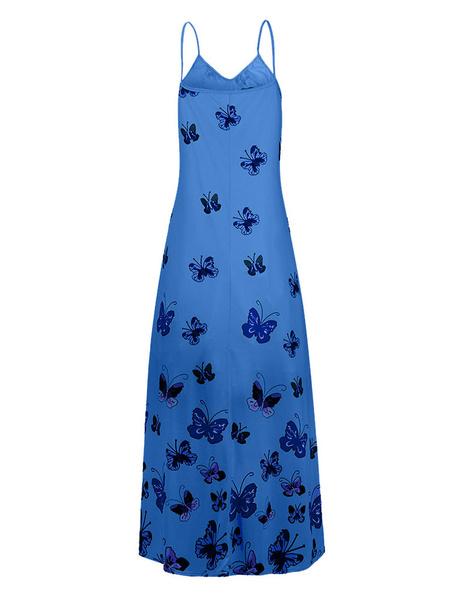 Milanoo Vestido largo Sin mangas Azul Ombre Correas Cuello Mariposa Hasta el suelo Vestido de playa