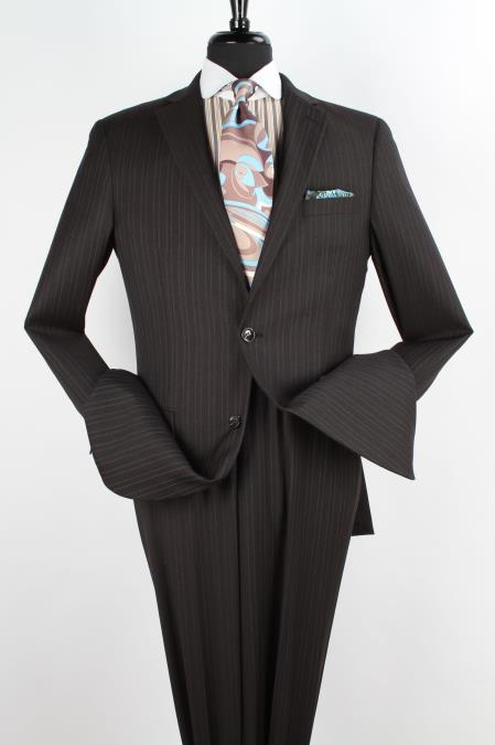 2 Piece Wool Executive Suit Notch Lapel Black with Light Grey Stripe