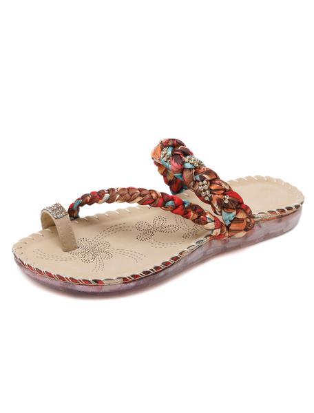Milanoo Boho Flat Slippers Women's Apricot Toe Ring Multi Color Rhinestones Detail Beach Slippers