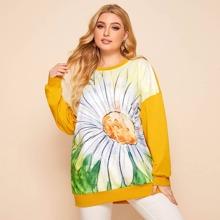 Sweatshirt mit Blumen Muster und sehr tief angesetzter Schulterpartie