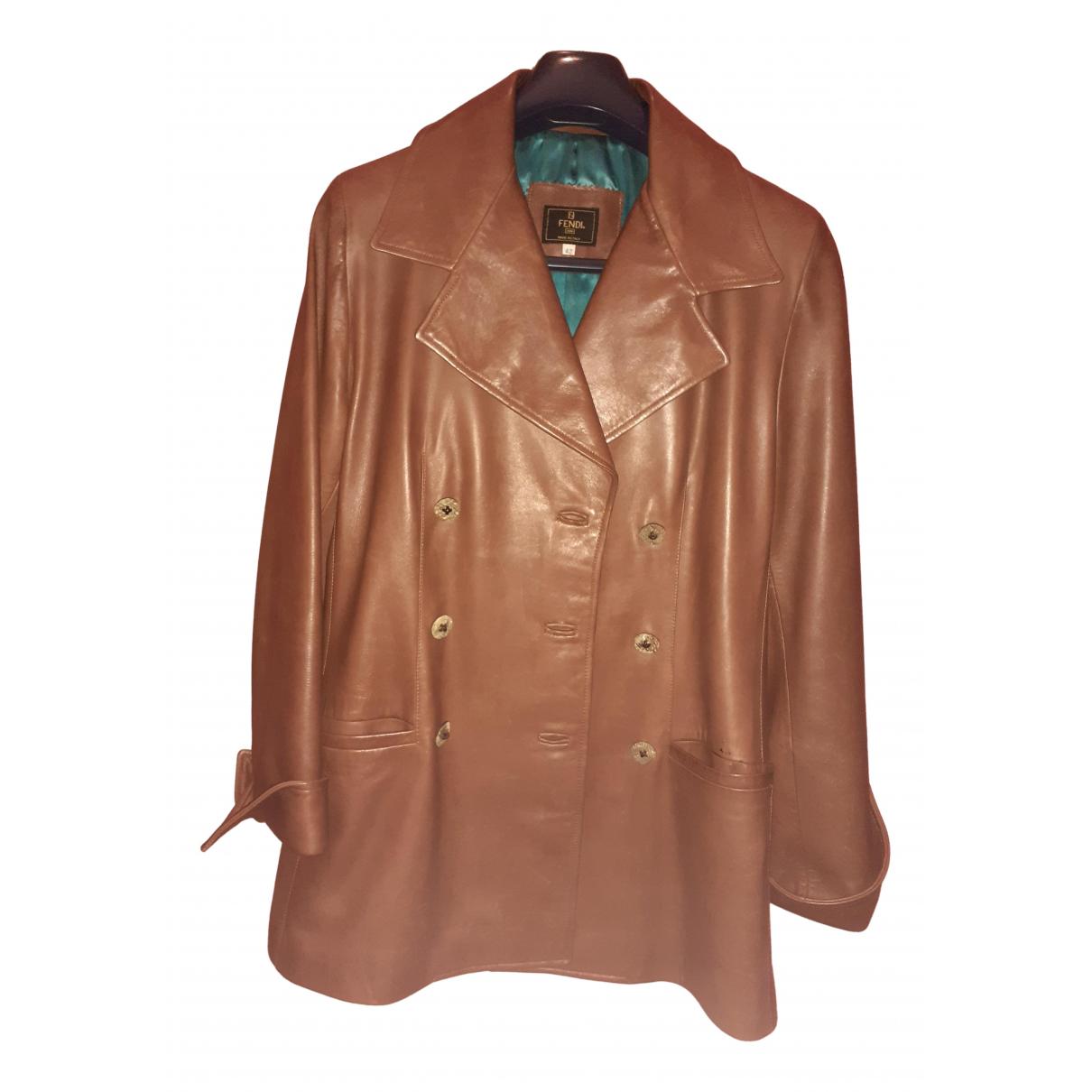 Fendi - Veste   pour femme en cuir - marron