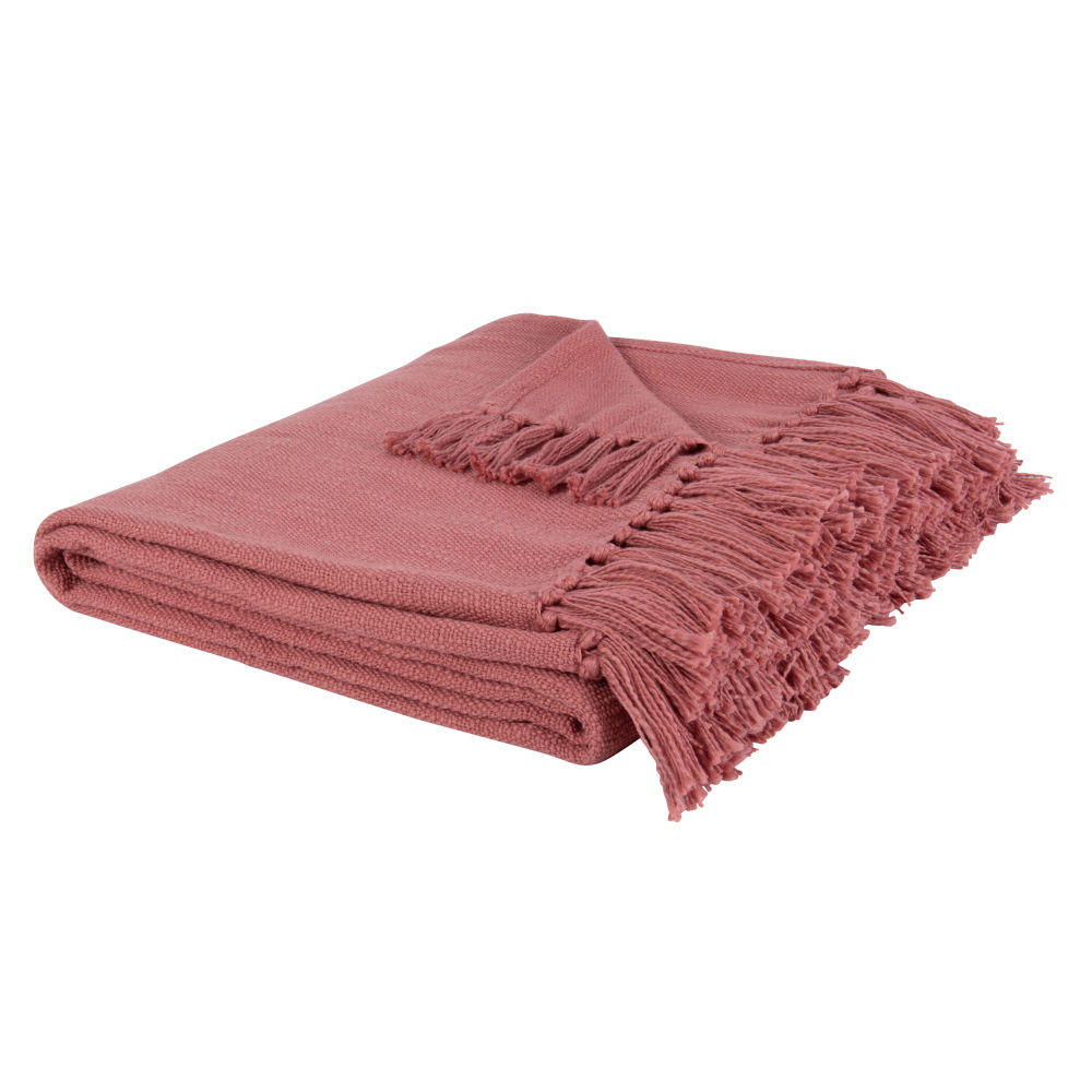 Baumwolldecke, rosa, mit Fransen 160x210