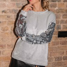 Contrast Sequin Sleeve Teddy Sweatshirt