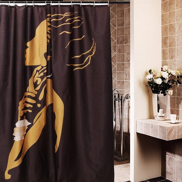 66x72 Inch African Woman Pattern Cartoon Waterproof Bathroom Shower Curtain With 12 Hooks