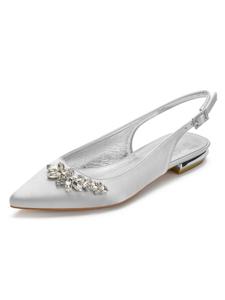 Milanoo Zapatos para invitados de boda Diamantes de imitacion azules profundos Zapatos de novia planos con punta en punta Zapatos de saten para madre