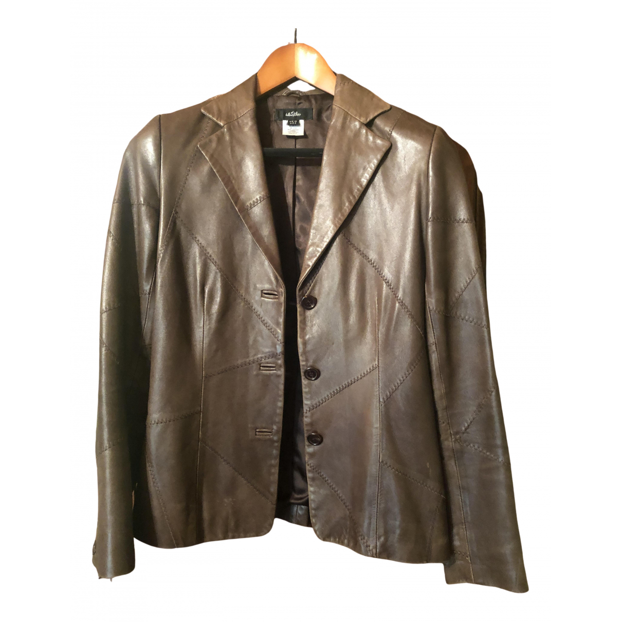 Whistles N Brown Leather jacket for Women 10 UK