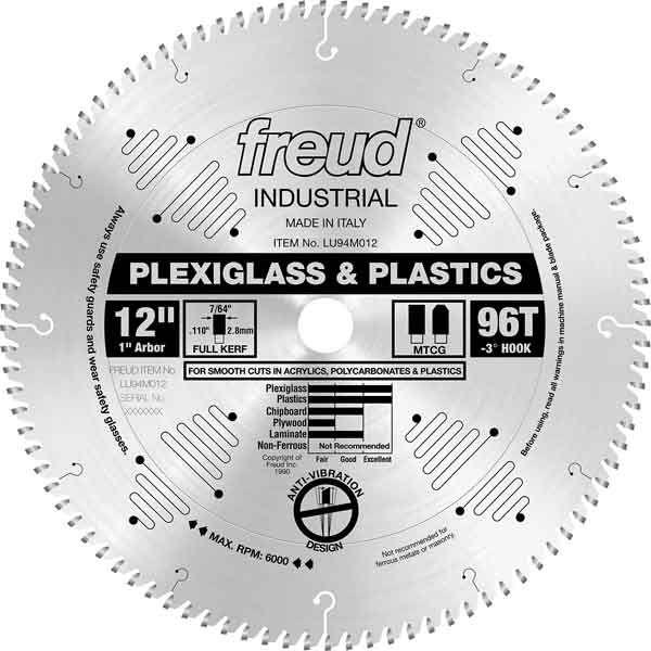 LU94M012 Industrial Plastic Blade for Plexiglass/Acrylics, 12