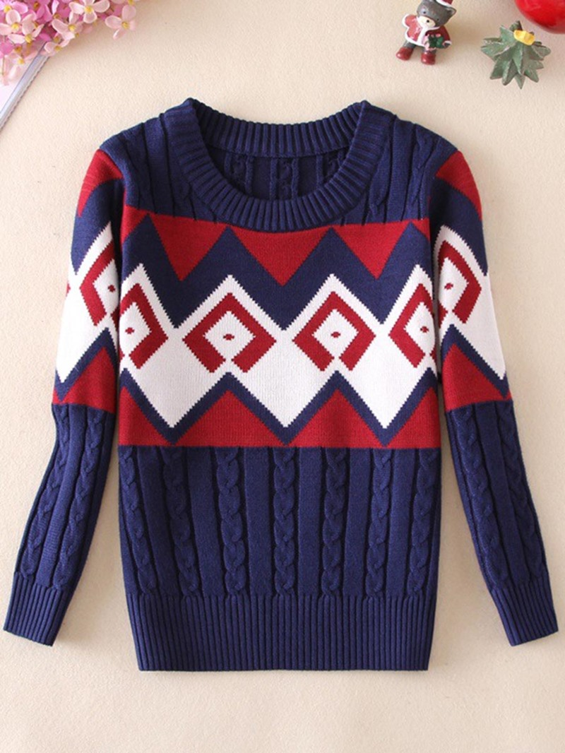 Ericdress Color Block Round Neck Long Sleeve Thick Sweater