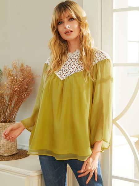 YOINS Yellow Hollow Design Patchwork Bell Sleeves Chiffon Shirt