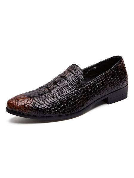 Milanoo Zapatos de vestir para hombre Moda Slip-On con patron de cocodrilo de punta redonda