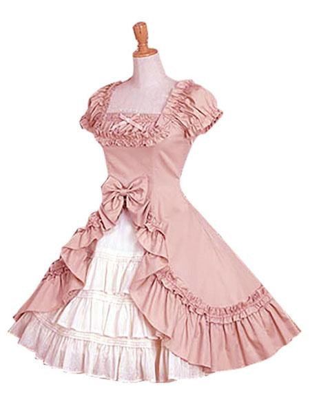Milanoo Classic Lolita Dress OP Two Tone Cotton Lolita One Piece Dress