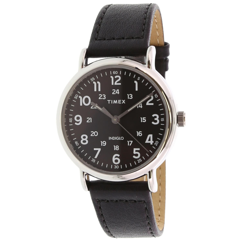 Timex Men's Weekender TW2T30700 Silver Leather Quartz Fashion Watch
