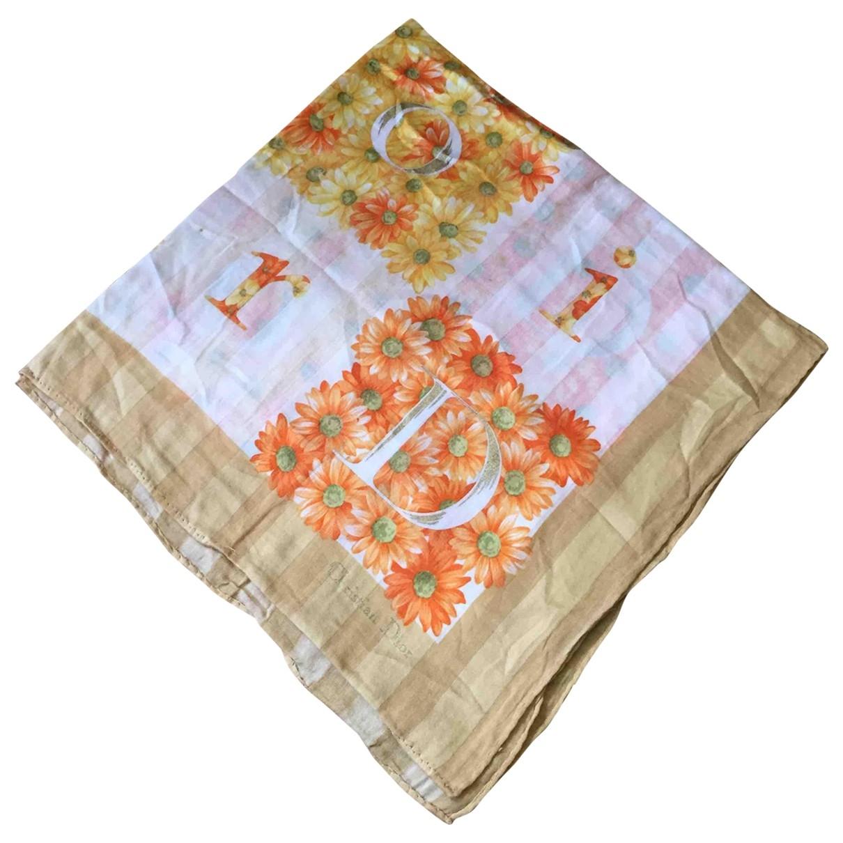 Dior \N Orange Cotton Silk handkerchief for Women \N