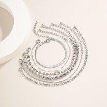 6pcs Rhinestone Detail Bracelet