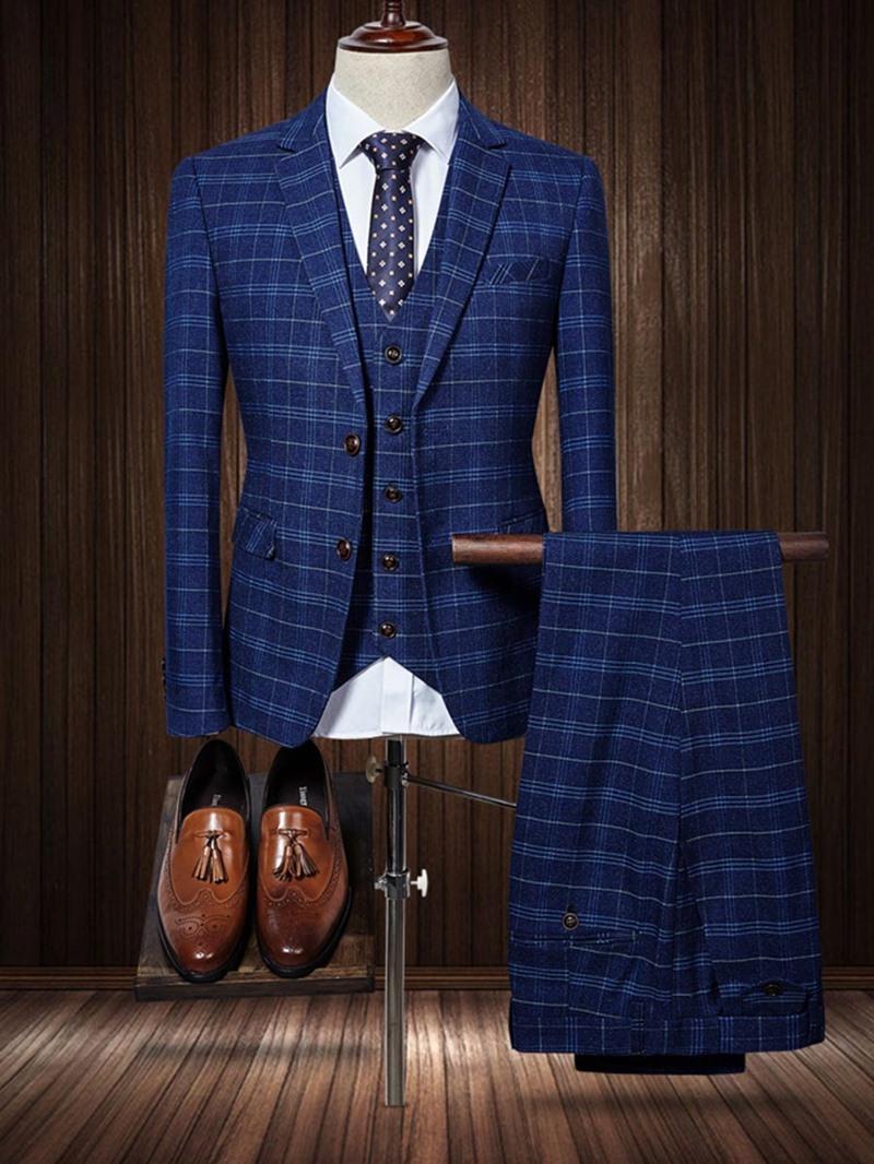 Ericdress Plaid Color Block Mens 3 Piece Suit