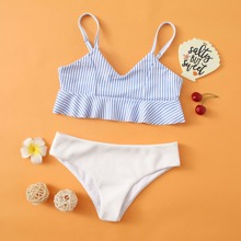 Bañador bikini de niñas bajo fruncido de canale de rayas