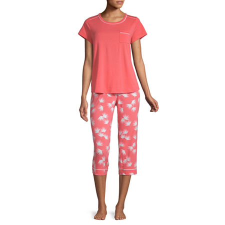 Liz Claiborne Womens 2-pc. Capri Pajama Set Short Sleeve Crew Neck, Large , Pink