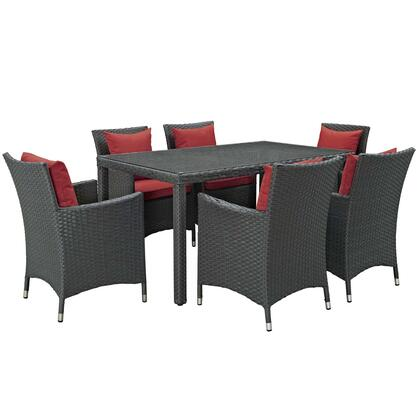 Sojourn Collection EEI-2312-CHC-RED-SET 7 PC Outdoor Patio Sunbrella   Dining Set in Canvas Red