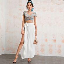 Tie Side Pleated Skirt