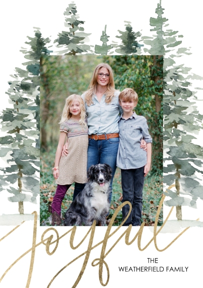 Christmas Photo Cards 5x7 Cards, Premium Cardstock 120lb with Scalloped Corners, Card & Stationery -Christmas Joyful Pines by Tumbalina