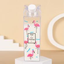 1pc Flamingo Print Clear Water Bottle