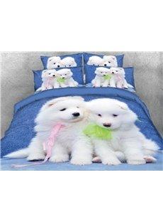 Vivilinen 3D White Samoyed Dog Printed 5-Piece Comforter Sets