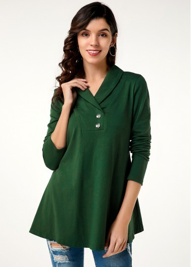 Women'S Dark Green Long Sleeve T Shirt Solid Color V Neck Button Detail Tunic Casual Top By Rosewe - 18