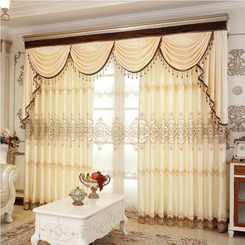 Europe Type Living Room Light Yellow Hand-made Embroidered Blackout Grommet Curtain