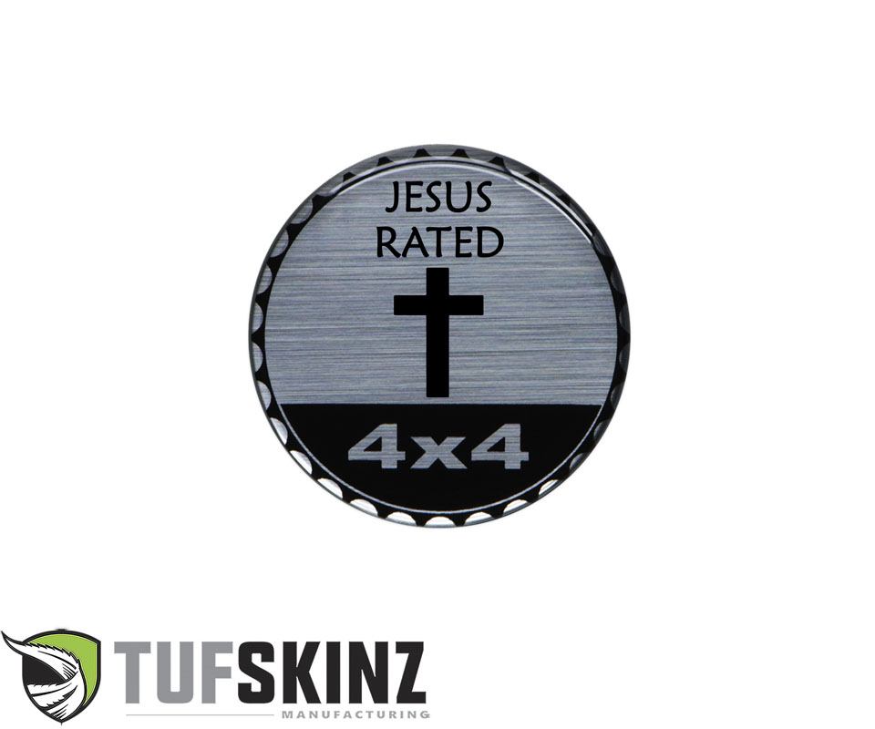 Tufskinz JEX059-DUM-190-G Rated Badge Fits Jeep 1 Piece Kit in Brushed Silver Jesus Rated