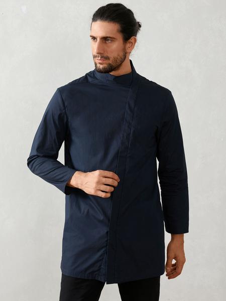 Yoins Men Casual Muslim Medium Length Stand Collar Shirt