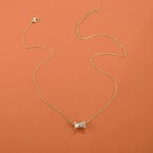 Halskette mit Strass und Schleife Dekor