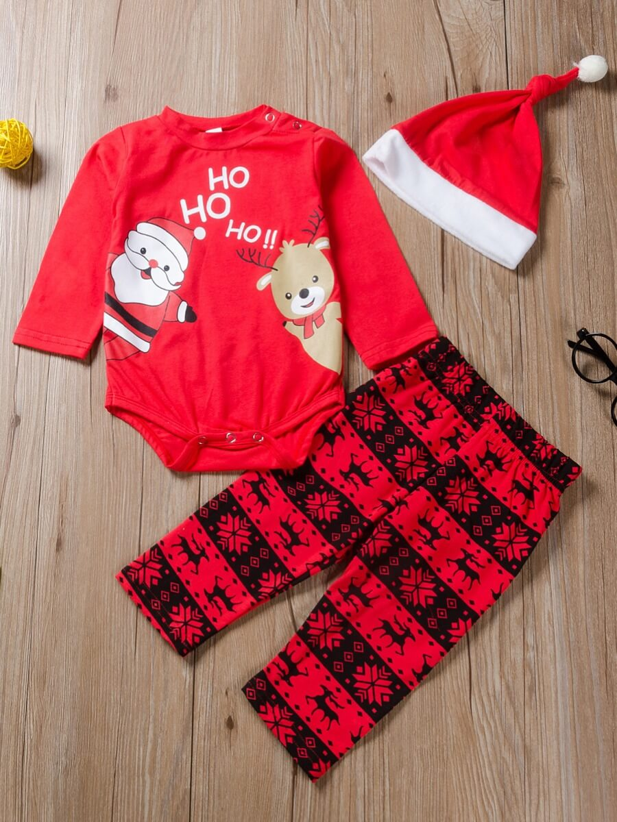 LW Lovely Sweet Christmas Day Print Red Girls Two-piece Pants Set
