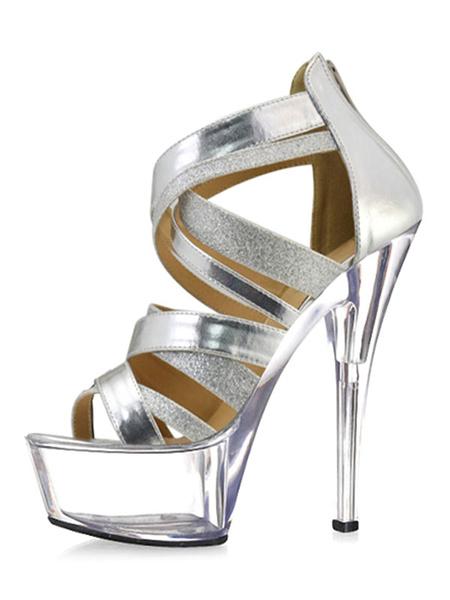 Milanoo Sandalias sexis para mujer, plataforma de tacon alto, punta abierta, sandalias cruzadas con cremallera, zapatos