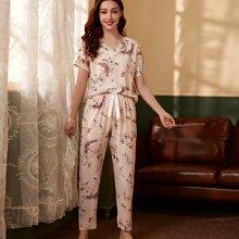 Floral Print Tie Front PJ Set