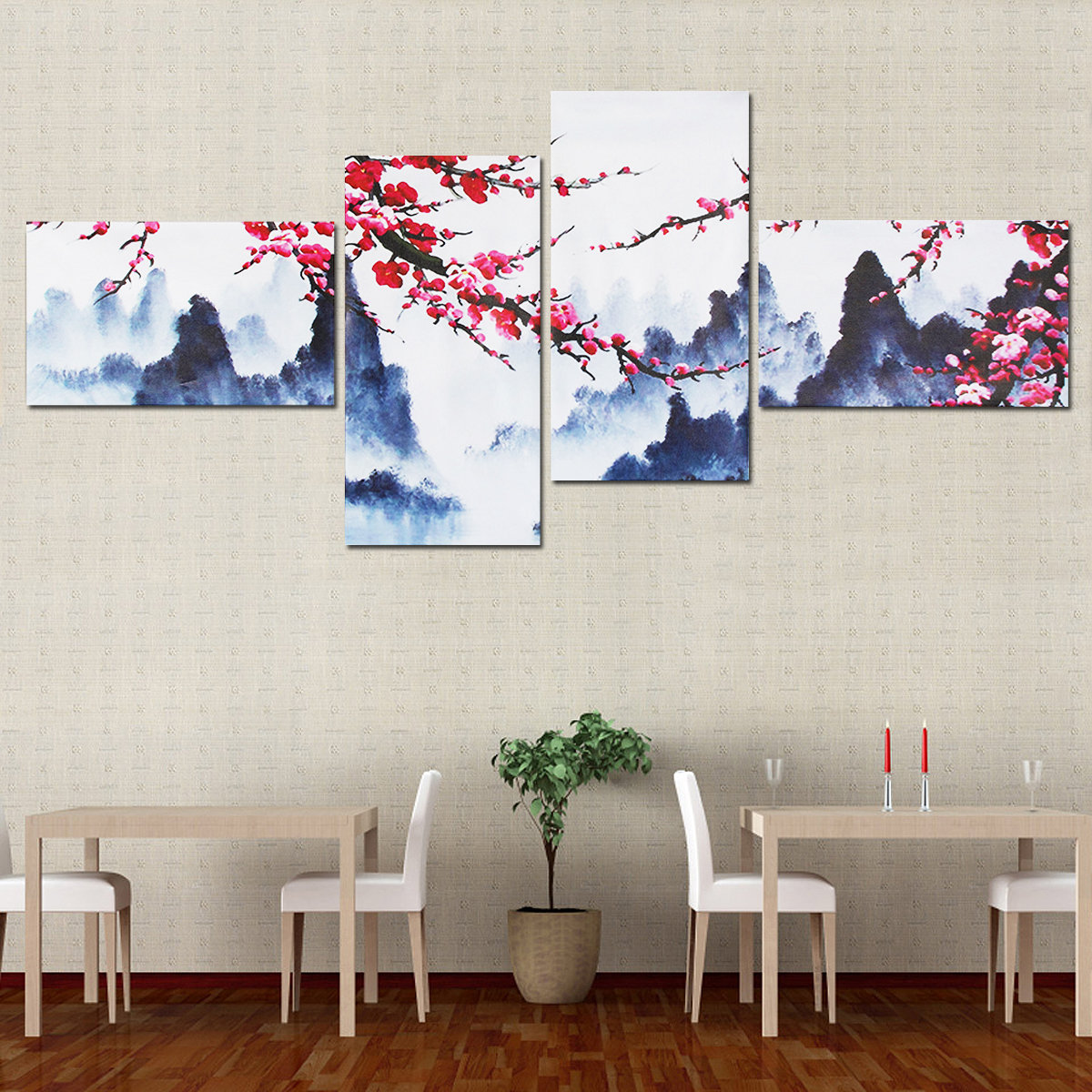 4Pcs Plum Blossom Unframed Modern Painting Canvas Print Wall Art Picture Living Room Home Decor
