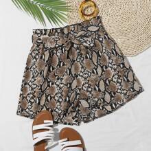 Paperbag Waist Belted Snakeskin Shorts