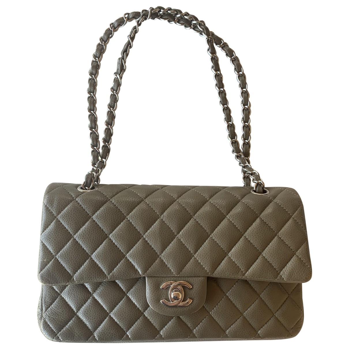 Chanel Timeless/Classique Khaki Leather handbag for Women \N