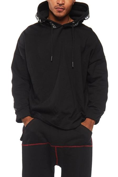 Mens Contrasting Red Stitching Regular Fit Black Outfit