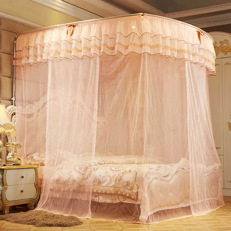 Indoor Square Polyester U-shaped Princess Style Mosquito Net Telescopic Bed Nets