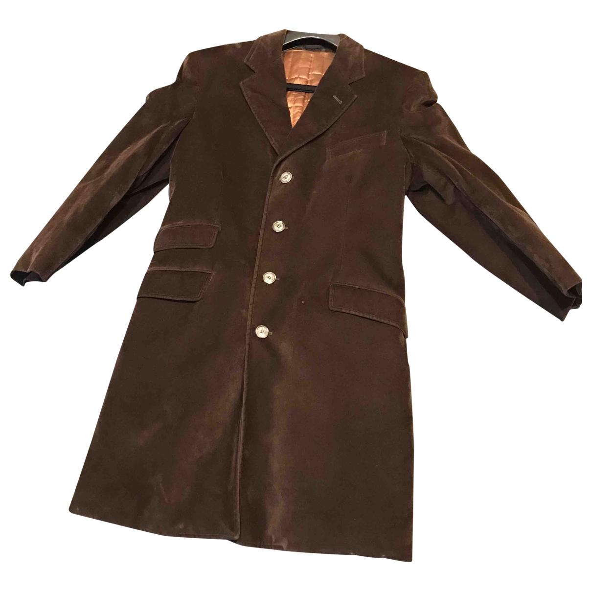 Moschino Cheap And Chic - Manteau   pour homme en velours - marron