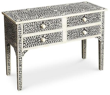 Vivienne Collection 1860070 Console Table with Traditional Style  Rectangular Shape  Medium Density Fiberboard (MDF) and Bone Inlays in Heritage