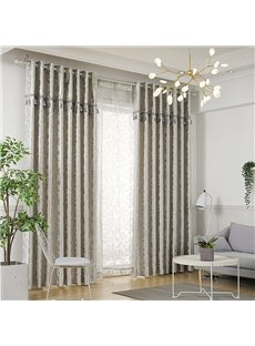 Grey and Silver Texture Floral Elegant Custom Blackout Curtains 2 Panels Grommet Top Curtains