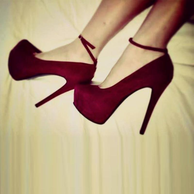 Ericdress Round Toe Platform Plain Stiletto Heel Shoes