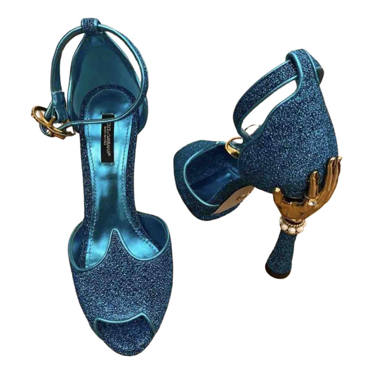 Dolce & Gabbana \N Sandalen in  Blau Mit Pailletten