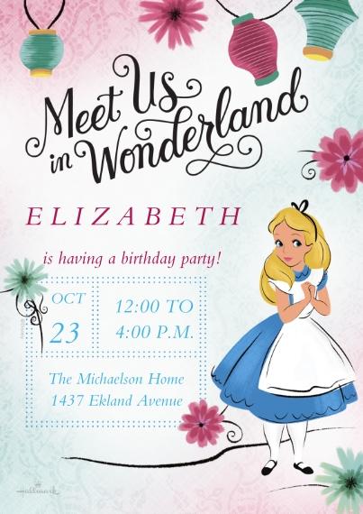 Kids Birthday Party Invites 5x7 Cards, Premium Cardstock 120lb, Card & Stationery -Meet Us - Alice in Wonderland